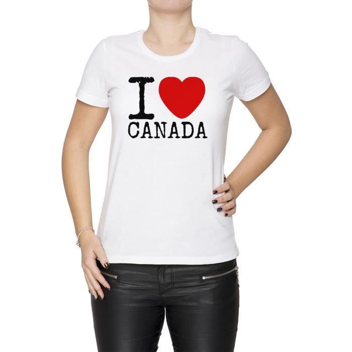 Tee Love D'équipage Canada Femme Manches Courtes Cou I shirt Blanc Cn7Cw4qB