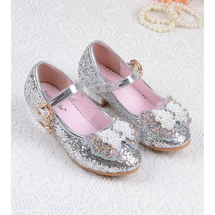 c0d693075bb93 Ballerine Chaussures à talon Bébé Fille Princesse Nœud Papillon Paillettes  pour Enfant 3 à 12 ans  03