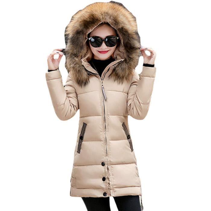 Doudoune femme de Marque luxe Section moyenne et longue Grand col en fourrure à capuche Épais chaud La mode Mince blouson femme