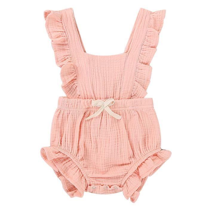 regard détaillé 1ef04 ea70e Ensemble Vêtements Bébé Barboteuse Fille Body Combinaison Bébé Fille  Naissance Romper Pyjama Nouveau Né Anniversaire 0-24Mois Rose