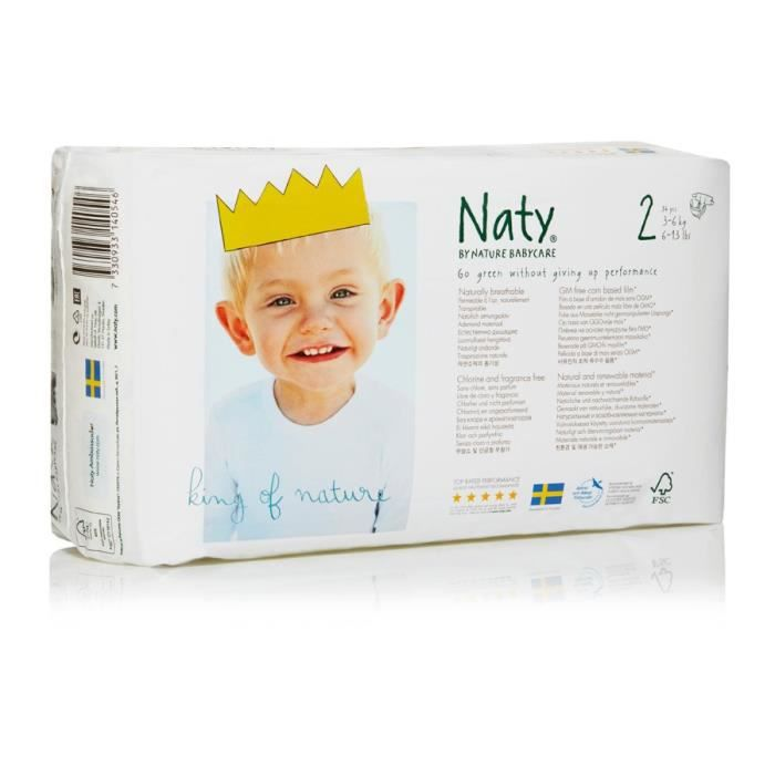 Naty Nature Babycare Taille 2 3 à 6 Kg 34 Couches Blanc Blanc