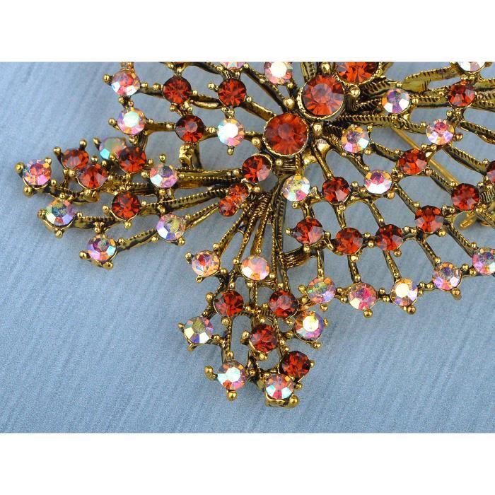 Topaze Cristal Strass Broche Papillon tracé inspiré Antique