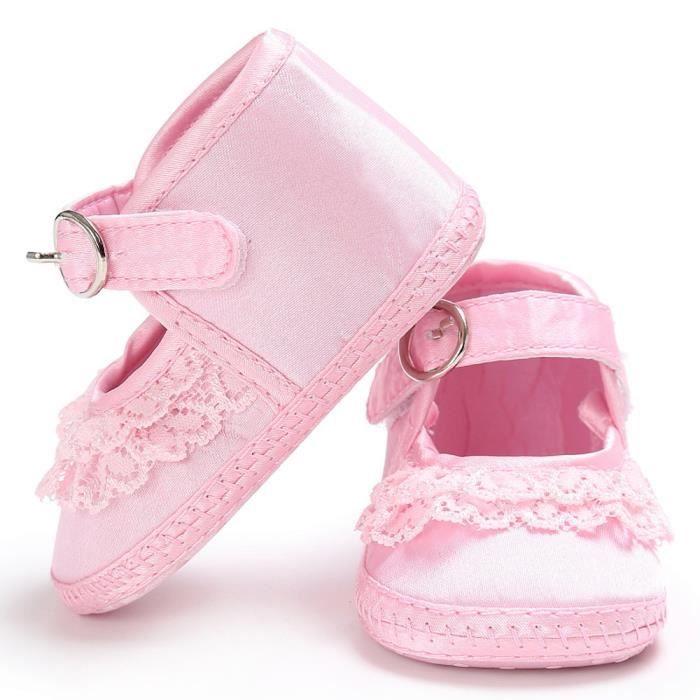 Frankmall®Bébé filles dentelle mignon léopard imprimer chaussures de lit prémarcheur Soft chaussures ROSE#WQQ0926277
