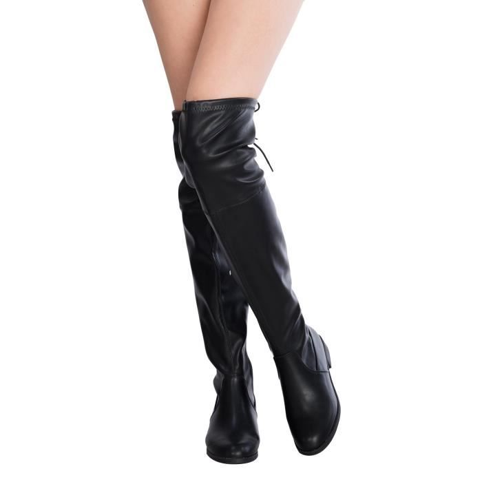 Sexy Over The Knee Thigh High Faux Suede And Leather Low Heel Boots EWMT6 Taille-42 XSHxl4