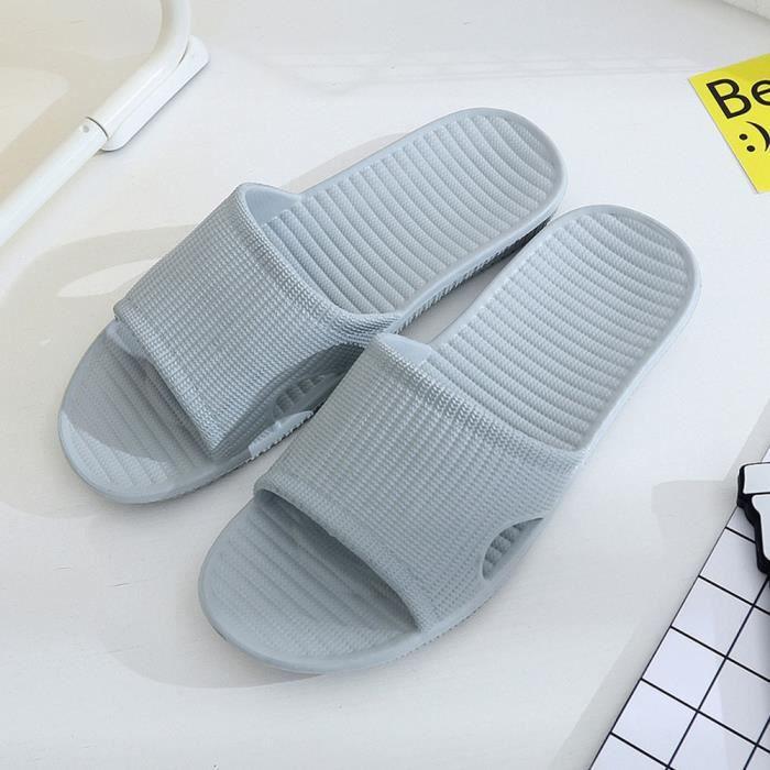 Hommes Bleu Sandales 724525 Plat Bain Stripe De Indoor Clair Outdoor D'été Pantoufles Chaussons amp; x64qU
