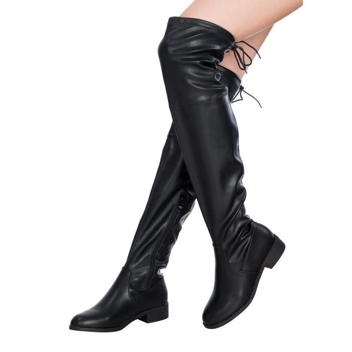 Sexy Over The Knee Thigh High Faux Suede And Leather Low Heel Boots EWMT6 Taille-42 FLppek3