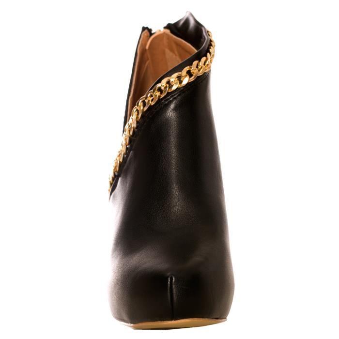 dmarkevous - Escarpin noir à talon à bordure chaine dorée et fermeture zip au dos - (40 - noir)
