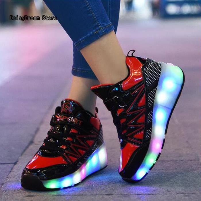 Baskets Enfants LED Chaussures Lumineuse à Roulettes Gar?ons Filles Sneakers Avec Roues Automatique De Patinage Chaussures