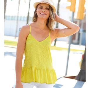 54626359348f T-SHIRT Tee-shirt fines bretelles volant sur bas femme