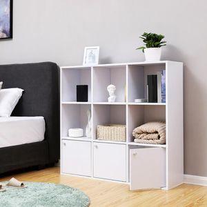 MEUBLE ÉTAGÈRE Bibliothèque en bois meuble de Rangement casier jo