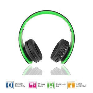 Casque Ecouteur Numérique Sans Fil Stéréo Bluetooth Vert 4 En 1