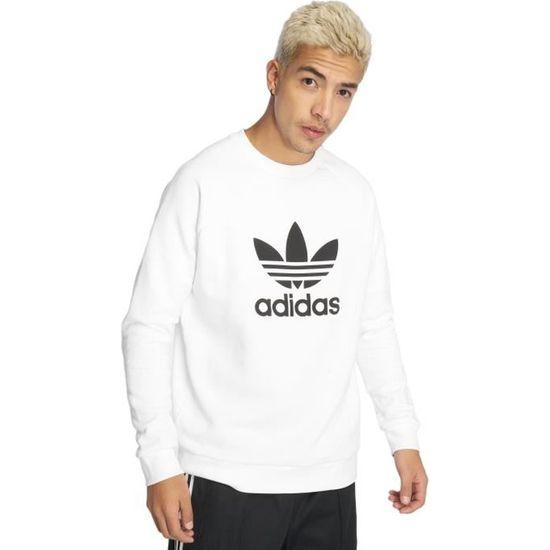 5772fb3254 Adidas originals Femme Hauts / Sweat & Pull Trefoil Blanc - 543579 - Achat  / Vente sweatshirt - Cdiscount
