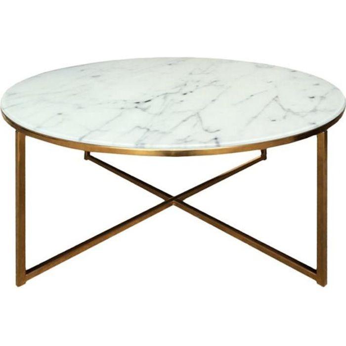 ALISMA Table Basse Ronde Style Contemporain En Chrome Doré + Plateau En  Verre Transparent Imprimé Marbre Blanc   L 80 X L 80 Cm