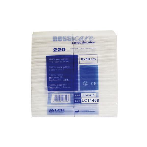 Carrés de coton LCH Nessicare - 8 x 10 cm - 100 % pur coton hydrophile - Lot de 220