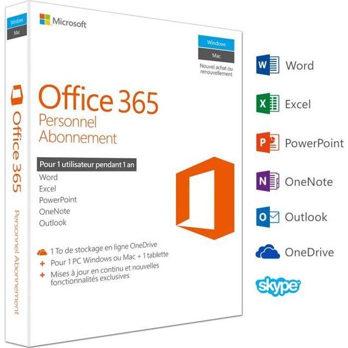 Office 365 Personnel - Inclus les nouveaux logiciels Office 2016 pour 1 PC/Mac + 1 tablette + 1 smartphone pendant 1 anLOGICIEL BUREAUTIQUE