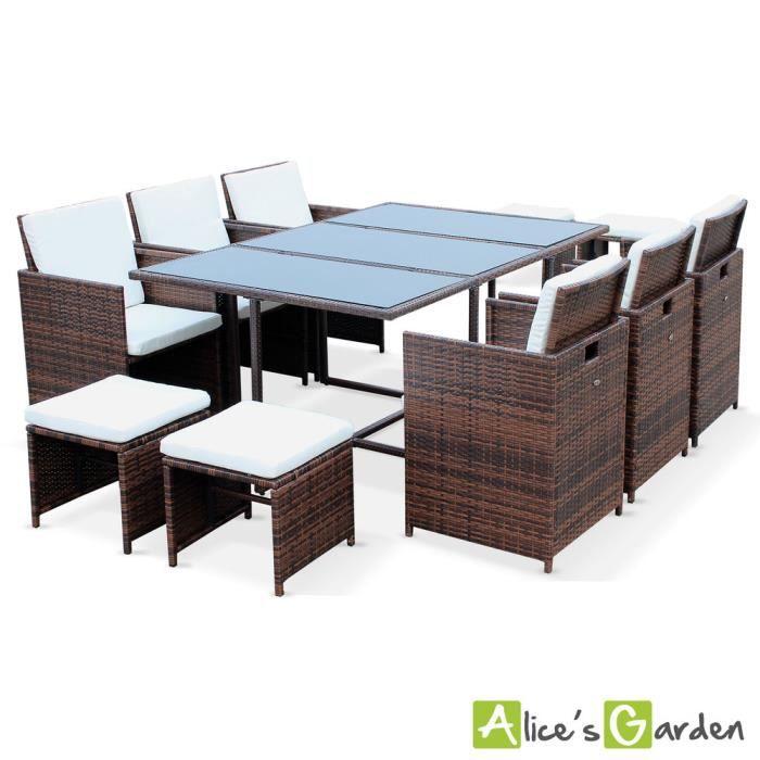 Salon de jardin Berceto Chocolat table en résine tressée 6 à 10 ...