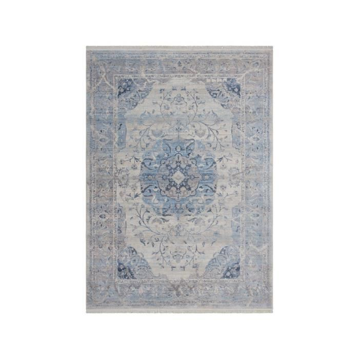 allotapis tapis vintage bleu courtes mches tiss osly 200x290cm bleu - Tapis Vintage