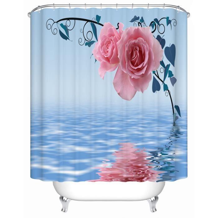 A055DF-1484 2016 Nouvelle rideau de douche salle de bains Rideau Rose Belle  mer de tissu rouge rideau de meubles fonctionnels de