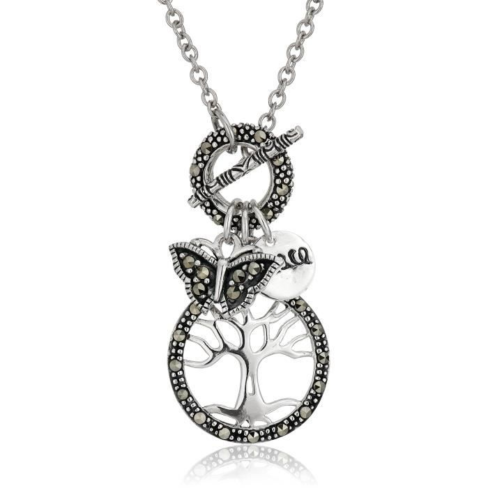 Jewel Panda Ster. Argent Circle Of Life, Peace And Charm Papillon Avec Collier chaîne