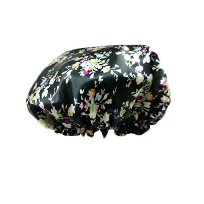 Doubles couches douche étanche réutilisable Cap Spa / Bain Chapeau cuisson Noir