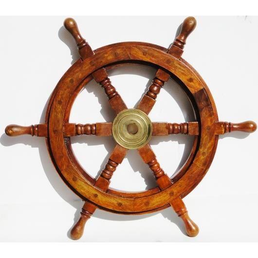 Barre roue en bois massif et laiton 46cm d coration for Decoration murale laiton