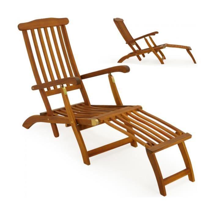 superbe chaise longue transat pliable en bois d - Transat Bois Pas Cher