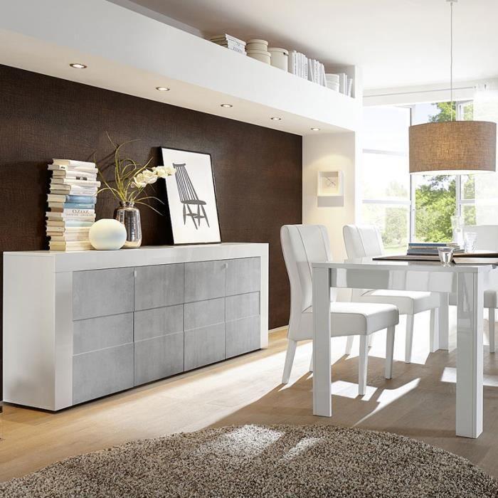 Salle A Manger Design Blanc Laque Et Effet Beton Tunis 2 180 Cm Sans