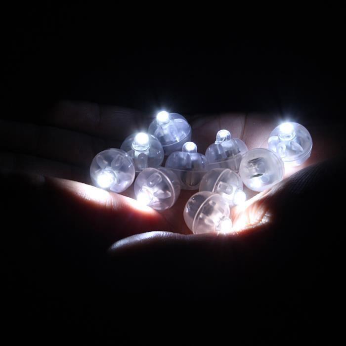 100 Pcs Led Lampe Balloon Blanc Pour Decoration Lanterne Papier