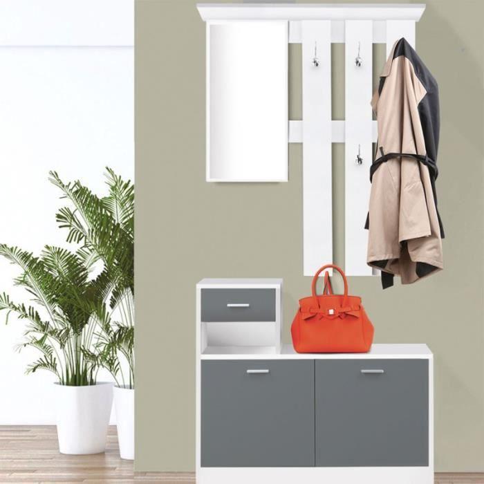 meuble dentre vestiaire dentre avec miroir design blanc portes