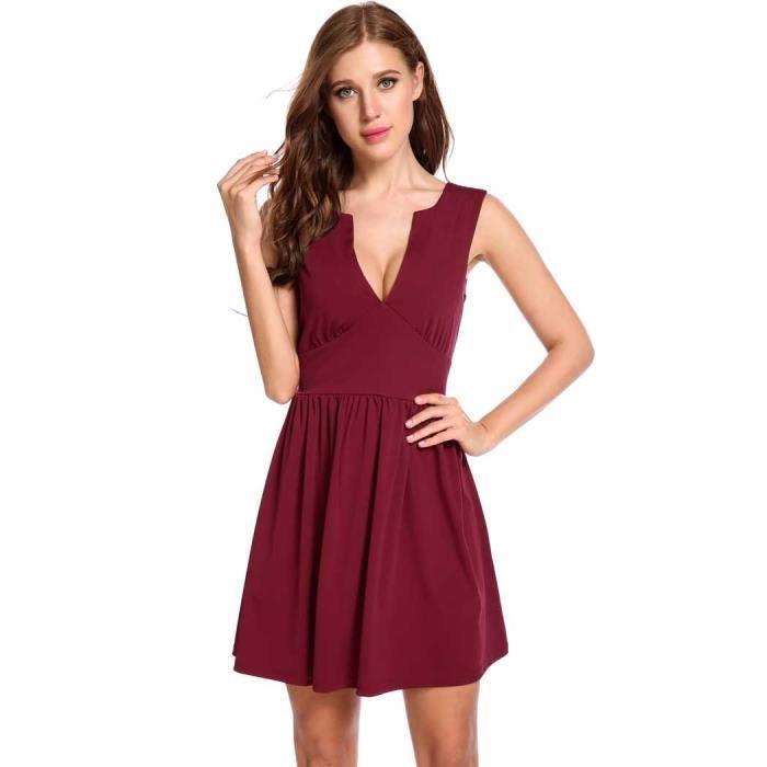 Femmes robe A-ligne Sexy sans manches double col en V profond Élastique Zip Plissé Hem