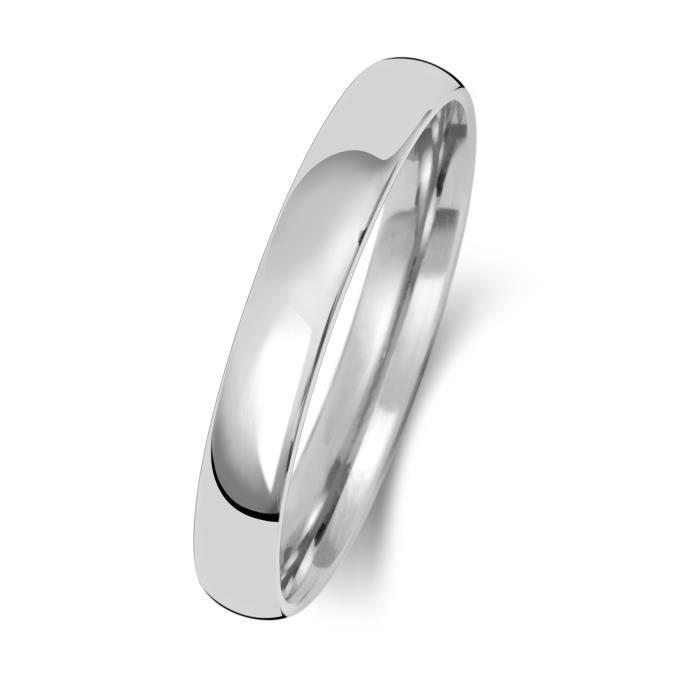 Bague de Mariage-Alliance Homme-Femme 3mm Demi Confort Or Blanc 375-1000 30941