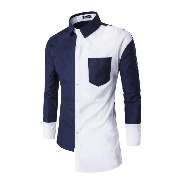 7e4f7be08db19c Bleu et Blanc Mode Chemise Homme Manches Longue Grande Taille Col Roulé en  Coton Slim Fit Vêtement Homme Respirante Casual M-XXL