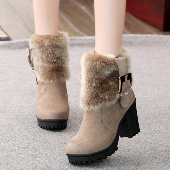 GLAM®givré bottes courtes et coton Martin bottes en daimceinture boucle