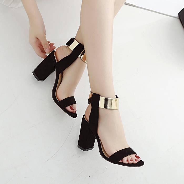 Plus Size 35-40 bride à la cheville Sandales Thick Talons Fashion Sexy Chaussures Femme,noir,38