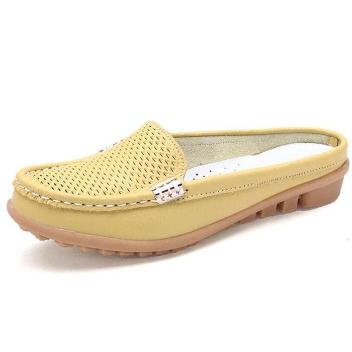 Mocassin Wys Cuir Classique Femmes xz045jaune35 Occasionnelles Chaussure pPvBwp