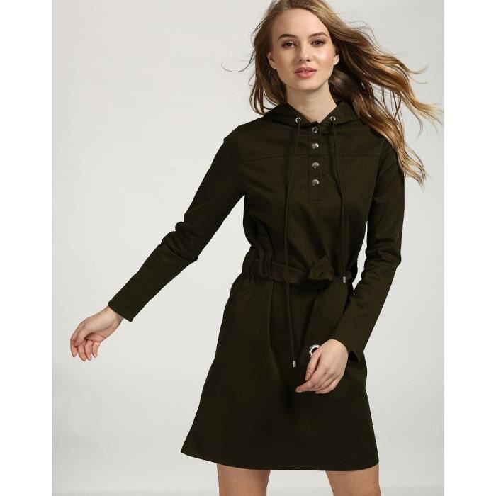 Trendtwo Robe à capuchon Stacy Olive Women Olive Cotton Mini Robe patineuse V52UY - Ref. RT_F_INCL18010411231_P1_5
