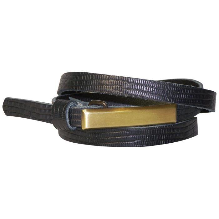 FRONHOFER Fine ceinture pour femme 1,5 cm ceinture à imprimé peau de serpent  boucle fine couleur laiton, ceinture en cuir véritable 8cb34a80717