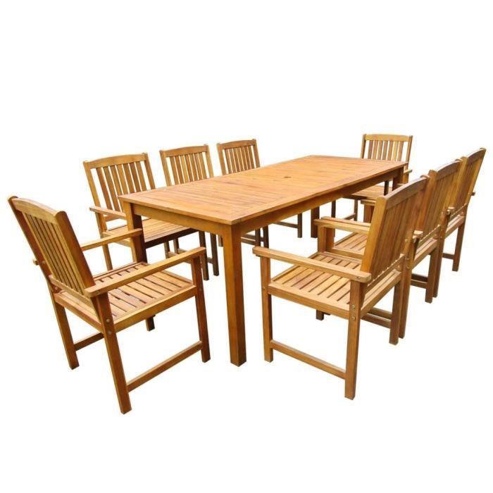 9 pcs Mobilier de jardin Bois d\'acacia massif Marron Salon de jardin Jeu de  canapé Ensembles de meubles d\'exterieur