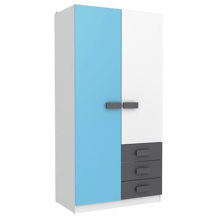 Armoire enfant avec 2 portes et 3 triroirs Blanc-Bleu-Gris, 1000 x ...