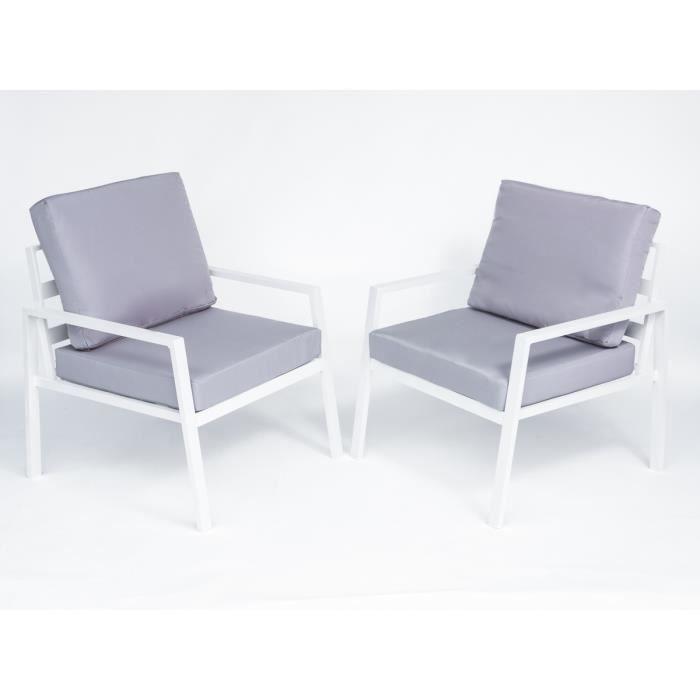 Salon de jardin Coloris blanc et gris en aluminium - polyester