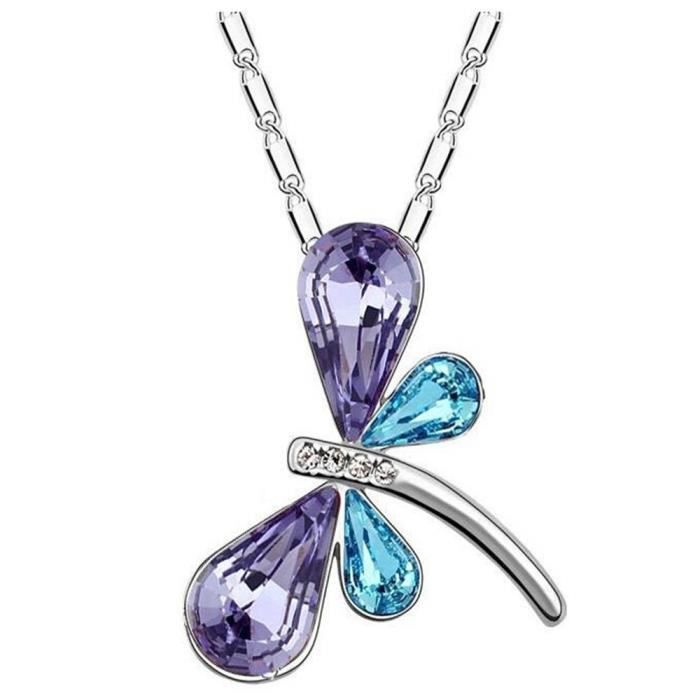 Womens Blue And Purple Austrian Crystal Dragonfly Shape Pendant Set With Earrings For (ctc - 21) T9Z2V
