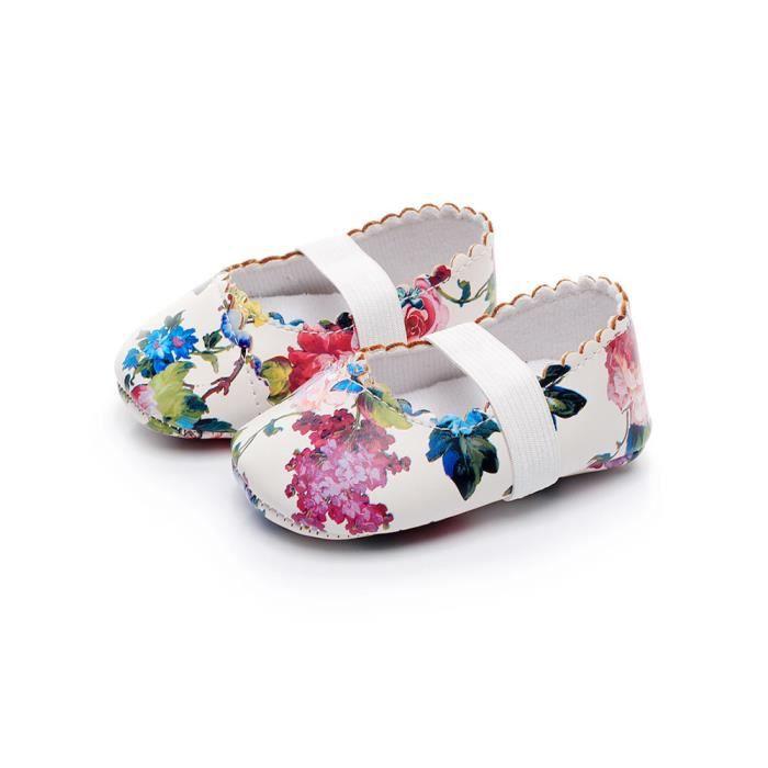 Frankmall®Bébé filles motif floral chaussures de berceau semelles douces anti-dérapant espadrilles BLANC#WQQ0926339 Cl16P