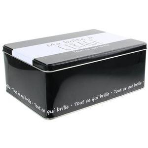 BOITE DE RANGEMENT Ma boîte à Cirage - 22,5x16,5x9 cm - Noir et blanc