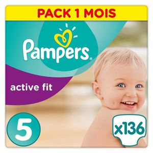 COUCHE PAMPERS Active Fit Taille 5 - 11 à 23 kg - 136 cou