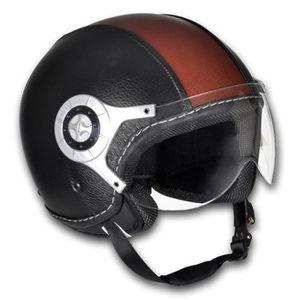 CASQUE MOTO SCOOTER Casque moto en cuir noir et brun Taille L