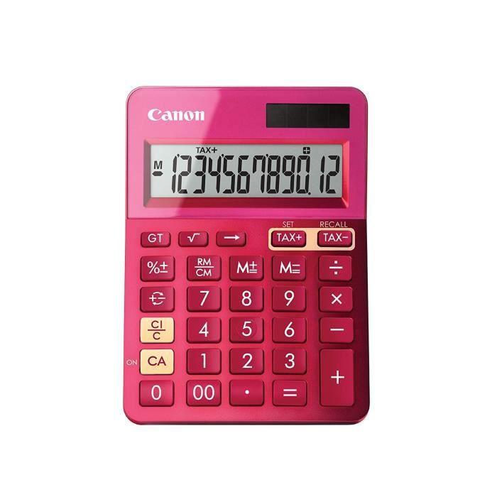 CANON Calculatrice de bureau LS-123K - 12 chiffres - Panneau solaire, pile - Rose métallisé