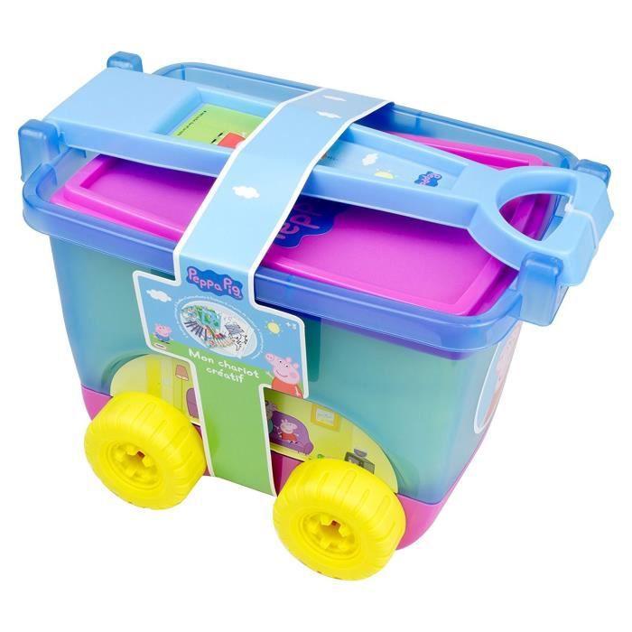 PEPPA PIG - Chariot d'activités - 5 feuilles à colorier - 5 feuilles d'autocollants - 6 stylos - 6 crayons