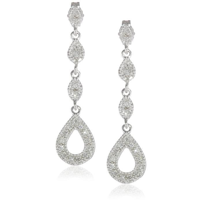 Craze 10k White Gold 1-4cttw, H-i Color, I3 Clarity, Heart Diamond Earrings HRD2X