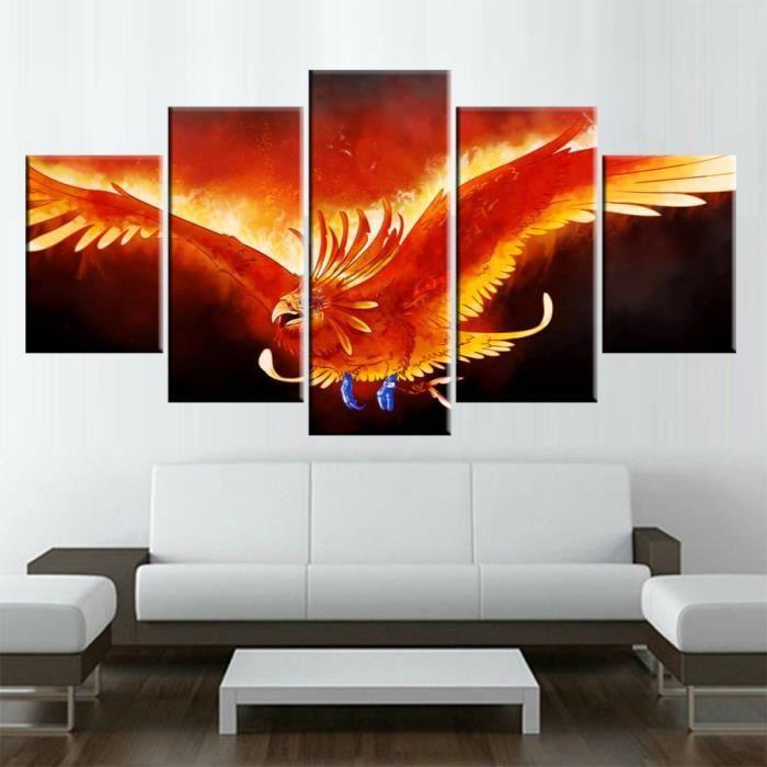 Imprimé Art Mural Photo Modulaire Peinture Moderne 5 Panneaux Phoenix  Montée Des Cendres Pour Salon Décoration De La Maison