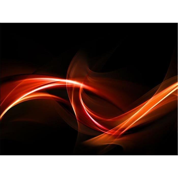 Tableau Abstrait rouge et blanc sur fond noir (Alu Dibond 120x80 cm ...
